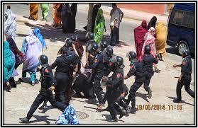 imagen de las autoridades Marroqui golpeando a un grupo de mujeres 22/06/2014